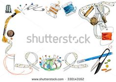 Frame from sewing tools and colored tape. Sewing kit. Scissors, bobbins with thread and needles. Threads & tools for embroidery. Hand drawn vector illustration