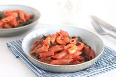 Speltpasta met garnalen en tomatensaus - SKINNY SIX