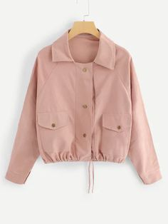 Solid Dual Pocket Drawstring Jacket Streetwear Button-Up Pink Jacket 2019 Spring Women Casual Crop Coats And Jackets Trendy Outfits, Fashion Outfits, Fashion Top, Fashion Women, Jackets Fashion, Cheap Fashion, Style Fashion, Fashion Online, Coats For Women
