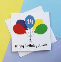 14th birthday card Balloon birthday card ANY AGE 13th | Etsy Happy Birthday Godson, 16th Birthday Card, Special Birthday, Handmade Birthday Cards, Happy Birthday Cards, Greeting Cards Handmade, Funny Cards, Cute Cards, 30th