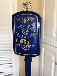 Police Gamewell Callbox with a working Vintage Rotory Dial Phone and Pedestal