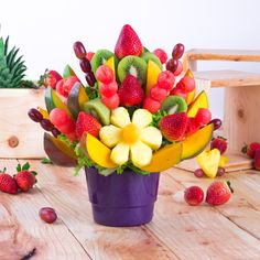 """Blooming Delight"" The freshest fruit bouquets for every occasion. Fruit Cake Watermelon, Mango Fruit, Strawberry Fruit, Fruit And Veg, Fresh Fruit, Fruit Cakes, Strawberry Shortcake, Edible Fruit Arrangements, Edible Bouquets"