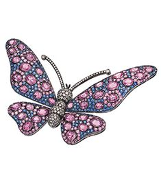 Pink and Blue Sapphire Butterfly Brooch