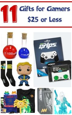 """These 11 gift ideas for gamers come in at $25 or less, so they won't bust your budget! They're perfect for holidays, birthdays or just to say """"hey, great job on that A at school!"""""""