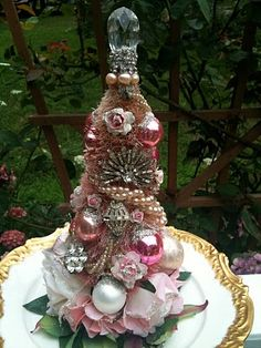 Pink fairy tree  - vintage jewels & baubles, ribbons, mini fabric flowers, & glitter