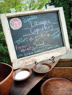 like the idea of chalkboard with menu, maybe seating chart    Photo: Picotte Photography