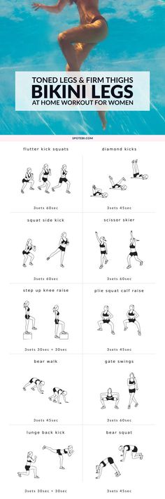 Build shapely legs and firm up your thighs with this bikini body leg workout for women! A set of 10 exercises to target your inner and outer thighs, glutes, hips, hamstrings, quads and calves, and get your legs toned and ready for summer! https://www.spotebi.com/workout-routines/bikini-body-leg-workout-for-women/