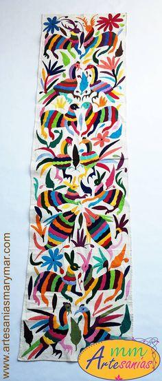 Otomíes - Tenango Embroidery Art, Cross Stitch Embroidery, Mexican Style, Arizona Tea, Fabric Art, Drinking Tea, Needlework, Arts And Crafts, Textiles