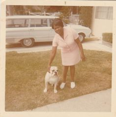 1970's African American woman and pet bulldog vintage animal photo.Car.Black.Dog. Pinned by Judi Crowe.