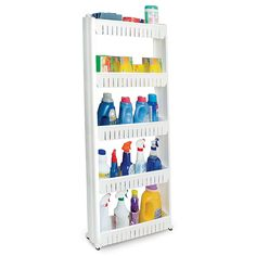Give yourself additional storage in the kitchen with the Slide Out Storage Tower. This slim pullout cupboard is on wheels and can fit perfectly between a fridge and counter to store food, cleaning supplies, and more. Paper Organization, Kitchen Organization, Organizing Ideas, Stairway Storage, Wall Mounted Spice Rack, Pot Rack Hanging, Storage Cart, Storage Containers, Storage Ideas