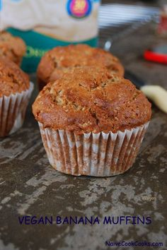 These vegan banana muffins are perfect for breakfast on the go. Soft and packed with so much flavor that you will never buy another banana muffin from store!