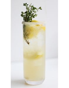 lemon thyme soda ~ gq ~ recipe ~ 1 1/2 cups sugar, 2 cups water, 1 oz. fresh thyme, juice of 6 lemons, soda water ~ bring sugar and water to a boil then add thyme and steep until cool ~ strain ~ in an ice filled glass, combine 1 1/2 oz of thyme syrup with 1/2 oz of lemon juice.  Add soda water to taste ~ sounds delicious!  ~ may add gin if a cocktail is desired