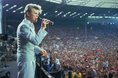 David Bowie performing at the Live Aid concert at Wembley Stadium in London