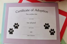 Puppy Dog & Kitty Cat Birthday Party ideas - CERTIFICATE OF ADOPTION FREE PRINTABLE