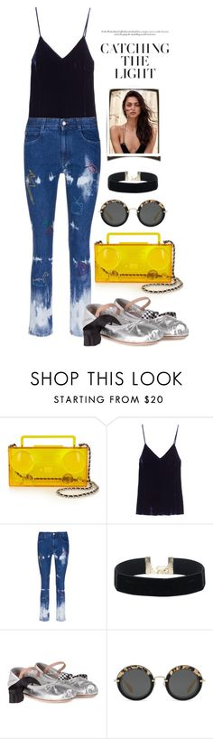 """""""I'd like... #512"""" by m-rossetti ❤ liked on Polyvore featuring Moschino, Mes Demoiselles..., STELLA McCARTNEY, Miu Miu, ballerina, velvet, flarejeans and choker"""