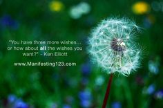 """You have three more wishes..... or how about all the wishes you want?"" - Ken Elliott   www.Manifesting123.com  #Lawofattraction #manifesting #inspiration #happiness #LOA"