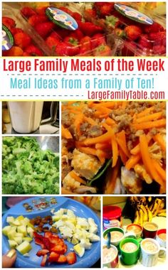 Large Family Meal Plan of the Week! Homemade Egg Salad, Fresh Fruit, More! Easy Kale Recipes, Yummy Chicken Recipes, Dinner Recipes, Healthy Recipes, Dinner Ideas, Cheap Dinners To Make, Large Family Meals, Large Families, Big Family