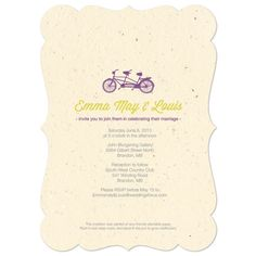 Tandem Bicycle Wedding Invitation #seed paper #purple #yellow #bike