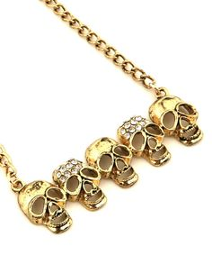 Gold 5 Skulls Pendant Necklace