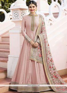Buy designer salwar suits and indian salwar suits online. Order this grandiose pink anarkali salwar kameez for ceremonial and festival. - New Arrivals