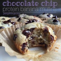 Chocolate Banana Bread Protein Muffins | 1 cup oat flour 3 scoops Whey Protein Powder 2 ripe bananas ½ cup dark chocolate chips ¼ cup honey ¼ cup coconut oil, melted 1 tsp. baking powder 2 eggs