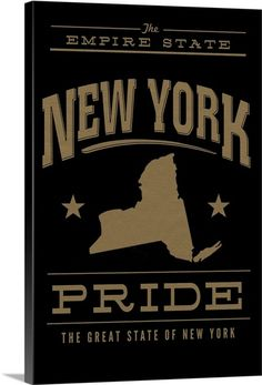 """Large artwork with text surrounding an outline of the state of New York - """"New York State Pride"""" wall art by Lantern Press from Great BIG Canvas State Outline, Large Artwork, Framed Prints, Canvas Prints, Big Canvas, State Art, Lantern, Pride, New York"""