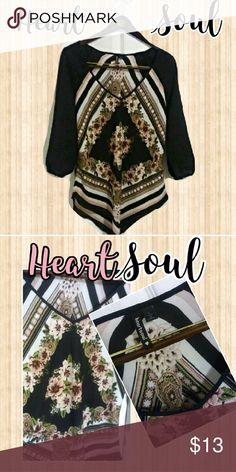 Lovely HeartSoul Blouse Very pretty Heart & Soul Blouse, wore once. Love the colors and pattern! Size Large and true to size. HeartSoul Tops Blouses