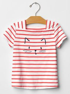 Embroidered square-neck graphic tee
