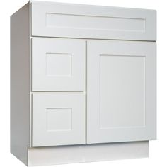 Everyday Cabinets White Shaker 30 Inch Single Sink Bathroom Vanity Cabinet