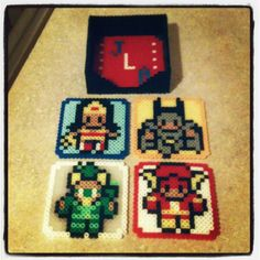Perler Wonder Woman, Batman, Green Arrow and The Flash coasters and a Justice League holder I made. :) #perler #perlerbeads