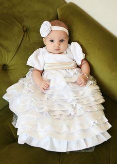 ベビーセレモニードレス&ヘッドバンドセット☆シルクシャンタンのティアードドレス「Caroline」newborn-24months
