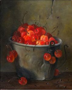 JEANNE ILLENYE - Still Lifes: Bucket of Cherries Country Farmhouse Oil Painting
