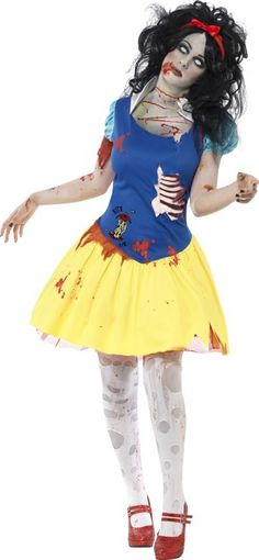 Halloween Zombie-Märchen-Kostüm für Damen: Dieses Halloween-Märchen-Kostüm für Damen besteht aus einem Kleid und einem Haarreif. (Strumpfhose und Schuhe nicht enthalten)Der obere Teil des Kleids ist blau und mit Blutflecken übersät. Die...