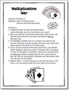 Multiplication War Game freebie