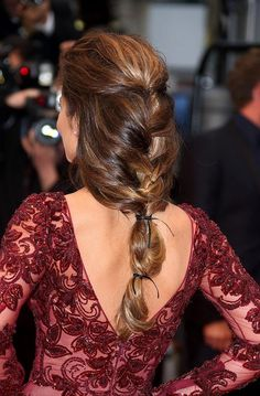 low cut back..and burgundy lace dress, perfect