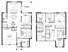 """Catalina - Double Level - Floorplan by Kurmond Homes - New Home Builders Sydney NSW Especially love the master """"bedroom suite 😍 Sims 4 House Building, Sims House, Building Plans, Dream House Plans, Small House Plans, House Floor Plans, Double Storey House Plans, Double Story House, Modern Small House Design"""