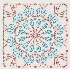 How to Crochet a Solid Granny Square - Crochet Ideas Sferruzzando&Co: Crochet Square Free pattern : Crochet Motif Patterns, Granny Square Crochet Pattern, Crochet Mandala, Crochet Diagram, Crochet Chart, Crochet Granny, Crochet Doilies, Crochet Flowers, Crochet Squares