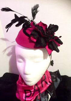 Vintage inspired stylish 1940's Fascinator Cap. Can be worn tilted and centerfront. A fuschia felt body, with velvet cord piping. Hand designed Black Velvet and Fuschia painted flower petals. Black Feathers to top it off. Asking price $99.00. Only one in stock. Call to order today/ Shipping is available (347) 707-0770 #fascinators # millinery #vintage #velvet #handmade #fuschia #feathers