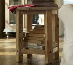 Benchwright Reclaimed Wood Side Table - Wax Pine finish #potterybarn