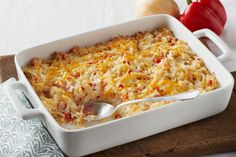 This cheesy, bacon-y hash brown casserole is a super side dish for any time of the day!