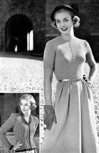 """Dress like the stars of the popular British television drama, """"Downton Abbey,"""" with these vintage #knitting instructions. In this pattern that's a genuine blast from the past, you can create a retro skirt, blouse and jacket. Make a bold statement with your wardrobe by donning this timeless design that's once again back in style!"""
