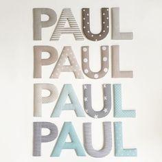 Gaaaaaaanz viel Paul - Stoffbuchstaben in Beige- Grau- und Minttönen #norabellahome #handmade #handgemacht #stoffbuchstaben #name #namensbuchstaben #individuell #wanddeko #wallletters #doorletters #boysroom #kidsroom #kinderzimmer