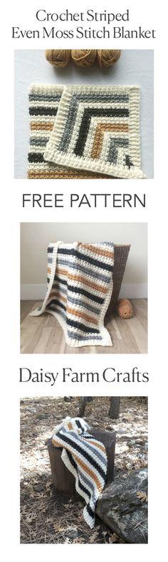 FREE PATTERN - Crochet Striped Even Moss Stitch Blanket - Daisy Farm Crafts