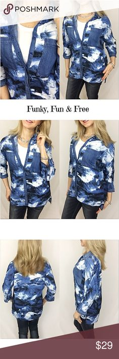 "Funky Fun & Free Abstract Denim Button Up SML Funky, fun & free abstract button up tunic blouse. Lightweight 100% Polyester blouse in shades of blue, ivory & a splash of brown with denim pockets, collar & trim. So unique & versatile...can be layered or worn alone. Slight hi low hem with 3/4 sleeves.   Small Bust 40"" Front Length 26"" Back 29"" Medium Bust 41"" Front Length 26.5"" Back 29.5"" Large Bust 42"" Front Length 27"" Back 30"" Tops"