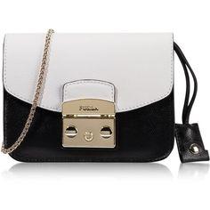 Furla Handbags Metropolis Chalk&Onyx Leather Mini Crossbody Bag (12,740 PHP) ❤ liked on Polyvore featuring bags, handbags, shoulder bags, mini crossbody purse, leather crossbody purse, furla handbags, genuine leather handbags y mini crossbody