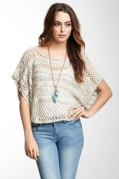 Dolman Sleeve Crochet Sweater (I'm thinking it's just a rectangle joined at the sides and across the top....)
