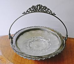 Silver Plate And Glass Serving Dish Silver Plate Bowl With Scalloped Edge, Canapes, Leaf Design, Serving Dishes, Frosted Glass, Finger Foods, Silver Plate, My Etsy Shop, Tray