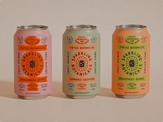 Retro - muted colors paired with higer contrast colors. Also unlikely color combos Cans by Brent Schoepf on Dribbble Retro Packaging, Tea Packaging, Beverage Packaging, Bottle Packaging, Brand Packaging, Product Packaging Design, Product Design, Game Design, Design Food