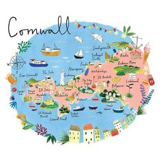 Cornwall Map Art Print by Clair Rossiter Cornwall Map, St Ives Cornwall, Devon And Cornwall, Map Of Cornwall England, Places In Cornwall, Cornwall Beaches, Newquay Cornwall, Yorkshire England, Yorkshire Dales