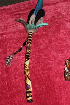 Willow Talking Stick / Smudge Fan with Egyptioan by FairyFresh, $50.00